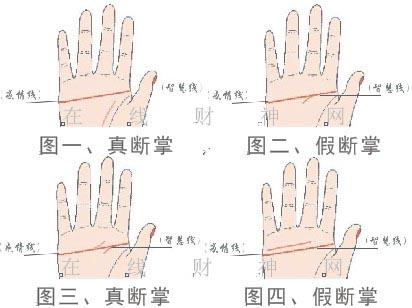 真断掌手相图与三个假断掌手相图,以及断掌手相的化解方法